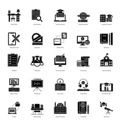 Online education glyph icons pack vector