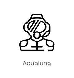 Outline aqualung icon isolated black simple line vector