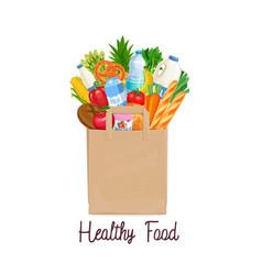 paper bag of groceries vector image