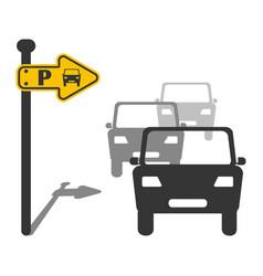 Parking sing car direction indicator vector