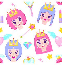 pattern with cute princesses vector image