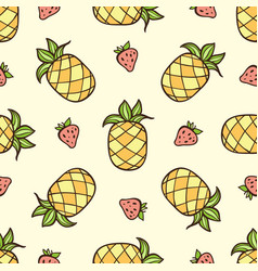 pattern with strawberry and pineapple vector image
