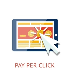 Pay per click with tablet vector