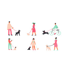 people with dogs flat set vector image