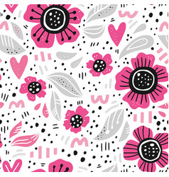 pink flowers hand drawn seamless pattern vector image