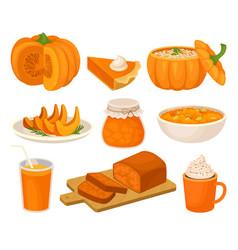 Pumpkin dishes set pie jam jar fruitcake vector