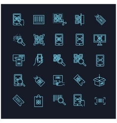 Qr code icons set on a black background vector