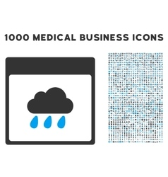 Rain cloud calendar page icon with 1000 medical vector