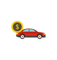 Red car and dollar sign icon flat style vector