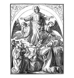 Resurrected jesus is taken up to heavenbible new vector