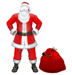 santa claus nobody christmas costume and red bag vector image