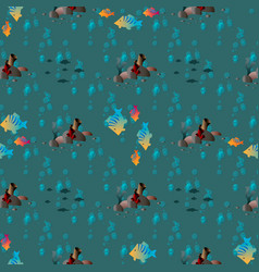 seamless pattern with fish and corals marine vector image