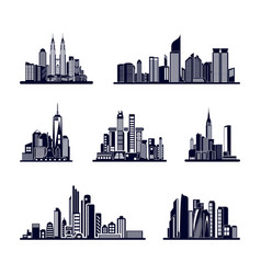 set modern city skyline city silhouette in vector image