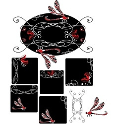Set of Art Nouveau style dragonfly vector image