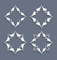 Set of paper elements stylized flowers for design vector