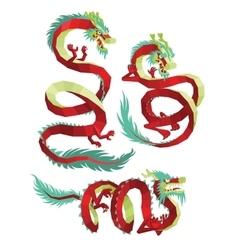 Set of PolygonalChinese Dragons vector