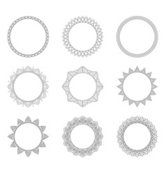 set of round decorative frames vector image