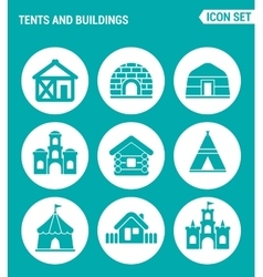 Set of round icons white Tents and buildings tent vector
