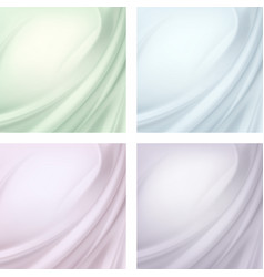 Set textile wavy folds abstract background vector