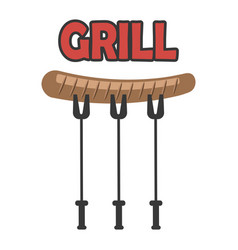 single grill sausage icon vector image