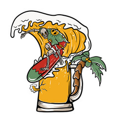 skull surfing on beer wave vector image