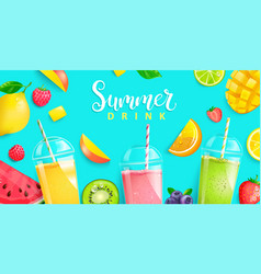 summer drinks 2020hot season tropical background vector image