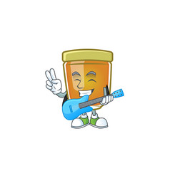 Sweet honey in character mascot with guitar vector