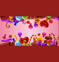 sweets cakes banner horizontal pink cartoon style vector image
