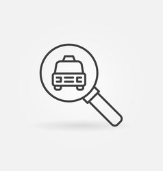 taxi search outline icon car in magnifier vector image