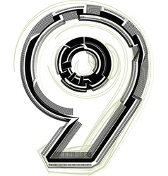 Technological font Number 9 vector