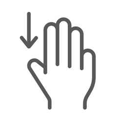 three fingers drag down line icon gesture and vector image
