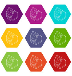 toy house icons set 9 vector image