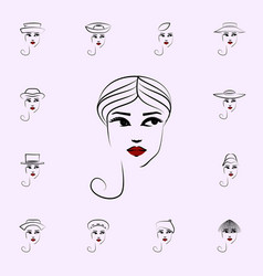 turban hat girl icon hat girl icons universal set vector image