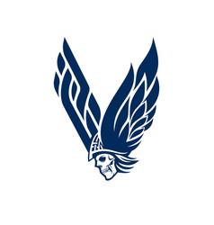 v for viking logo letter and skull logo vector image