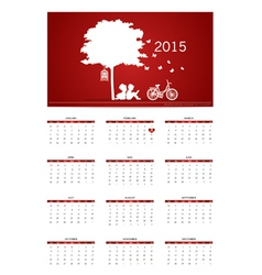 Valentines day 2015 Calendar vector image