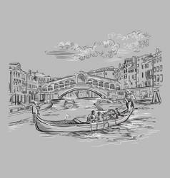 Venice hand drawing rialto bridge vector