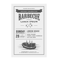 Vintage birthday party barbecue invitation vector