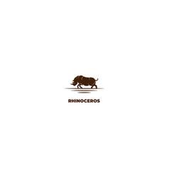 vintage retro angry strong rhino rhinoceros logo vector image