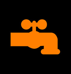 water faucet sign orange icon on vector image