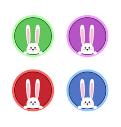 white easter rabbit funny bunny in flat style vector image
