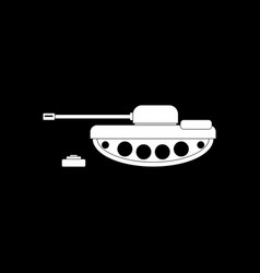 White icon on black background military tank and vector