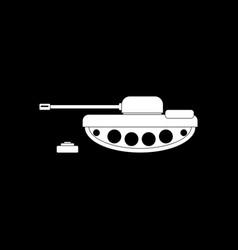 White icon on black background military tank vector
