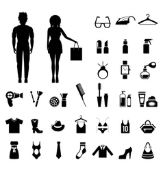 Beauty and fashion collection with silhouettes of vector image vector image