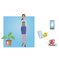 businesswoman office worker employee manager vector image