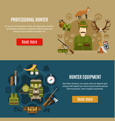 hunting equipment banners set vector image vector image