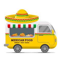 mexican street food caravan trailer vector image