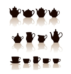 Crockery objects silhouettes set with reflection vector image vector image