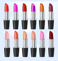 fashion lipstick ads colorful lipsticks arranged vector image vector image
