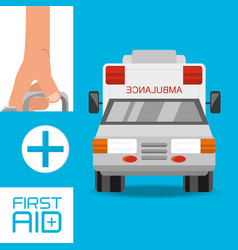 hand with first aid kit suitcase and ambulance to vector image