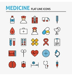 Healthcare and Medical Colorful Flat Line Icons vector image vector image